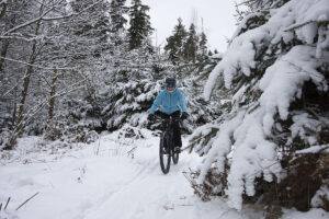 Mountain biking in winter.