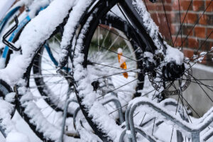 Bicycle in snow.