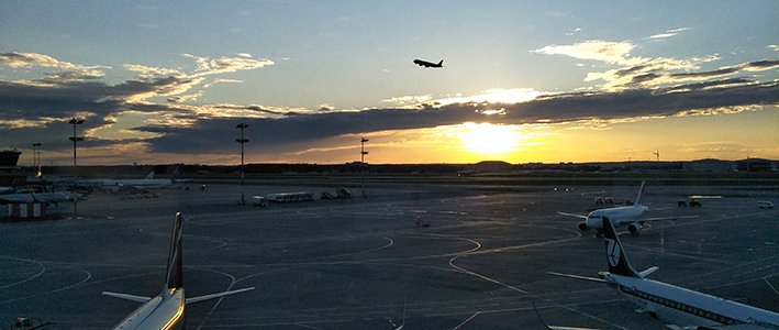 sunset Moscow airport