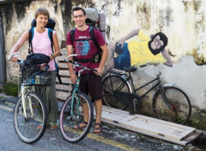 Start of our cycling trip. Transformation from backpackers to bikers.