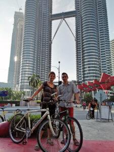 Under Petronas Towers in Kuala Lumpur.