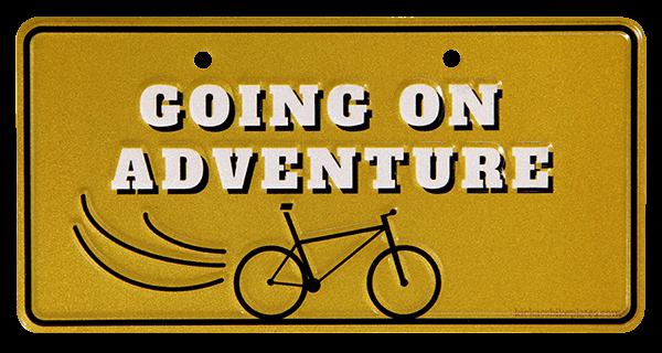 bike plate going on adventure