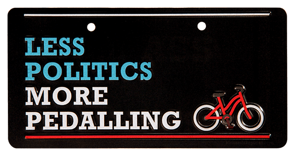 bike plate less politics