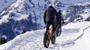 Cycling in snow.