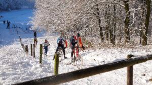 Snow cycling race.
