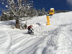 Winter cycling with mountain bike.